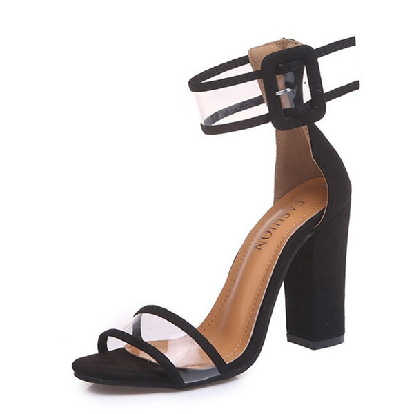 2018 Fashion Women Pumps Open Toe Sexy Straps Buckle High Heels Jelly Shoes Summer Ladies Bridal Suede Chunky Heels Sandals Big Size 35-43