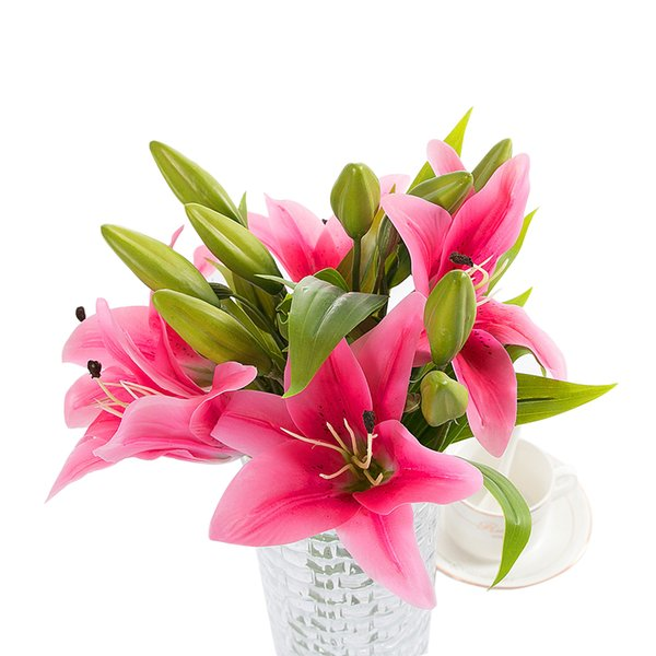 DIY Artificial Flowers Pvc Perfume Lily Fresh Style Desk Ornaments plant for Wedding Home Party Decorations Mother's Day Gift