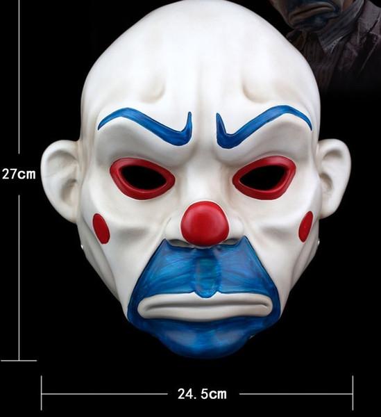 Batman Mask Joker Clown Bank Robber Dark Knight Costume Halloween White Masquerade For Men Party Fancy Resin Masks On Sticks