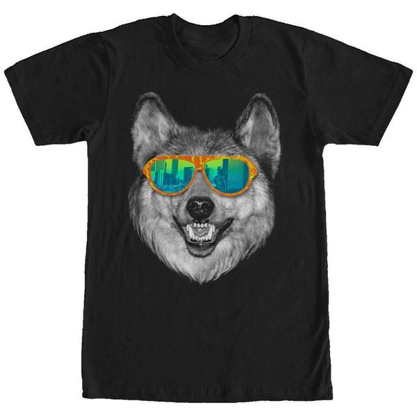 eedcbc3190c Потерянные боги Wolf Sunglasses Mens Graphic T Shirt Mens 2018 fashion Brand  T Shirt O-Neck 100% хлопок