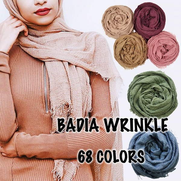 10pcs/lot women maxi solid hijabs scarf oversize islam shawl head wraps soft long muslim frayed wrinkle cotton plain hijab Y18102010
