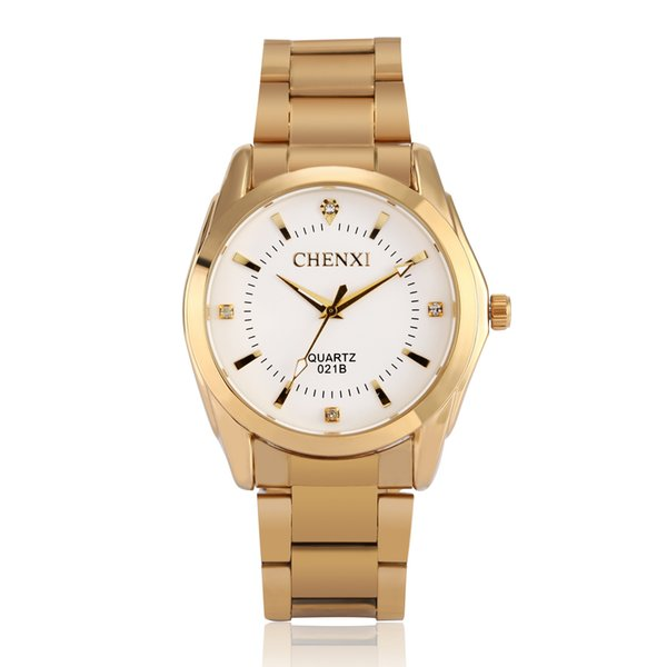 Men and women couple table calendar waterproof luminous business quartz watch gold retro table