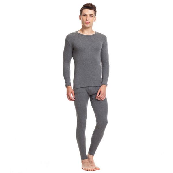 Threegun 100% algodão dos homens de inverno o-pescoço quente longo johns  set ultra c5b48c435d810