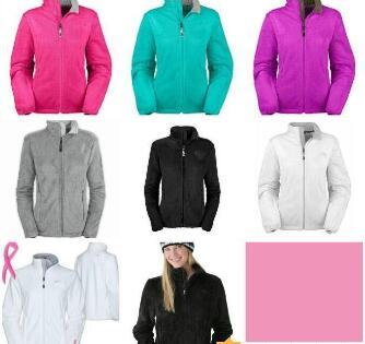 best selling 2019 Women's Fleece Zipper Jackets Fashion outdoor pink ribbon windproof black white jacket outwear coat