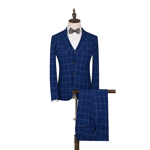 FOLOBE Royal Blue Plaid 3PCS Slim Fit Men Suits Groomsmen Suits Formal Business Tuxedos Best Mens For Wedding Casual Wear