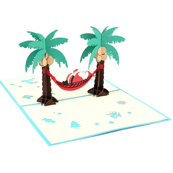 3D Handmade Pop Up Greeting Cards Xmas Paper Gift Card Party Christmas Holiday Invitation Favors Free shipping