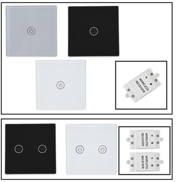 Smart Home Switch Crystal Glass Wireless Remote Control Receiver Waterproof Touch Screen Light Switch 600W,100-240V RF