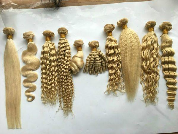 Nasses Und Wellenförmiges 613 Blonde Weave Peruanische Reine Menschenhaar 4 Bundles Natürliche Welle Lose Tief Curly Kinky Gerade Platin Blonde Erweiterungen