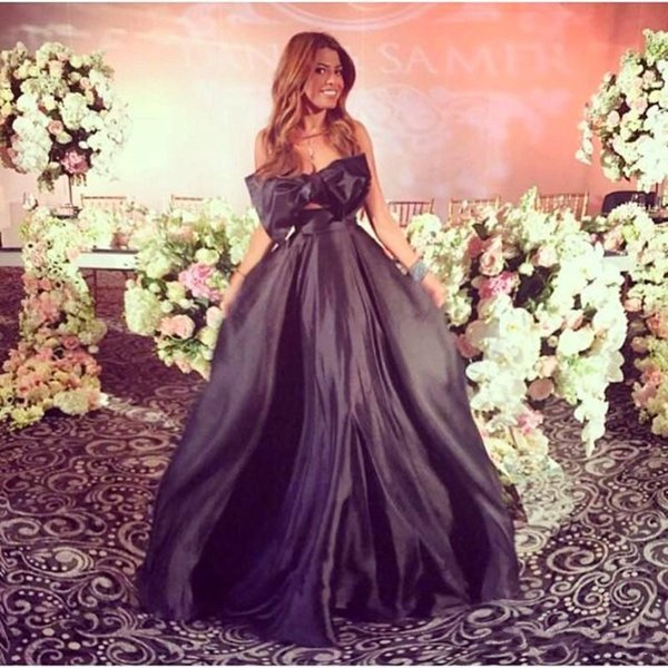 Hot Fashion Sexy Formal Evening Celebrity Dresses 2018 A Line Black Taffeta Strapless Big Bow Party Dress Arabic Prom Gowns Floor Length