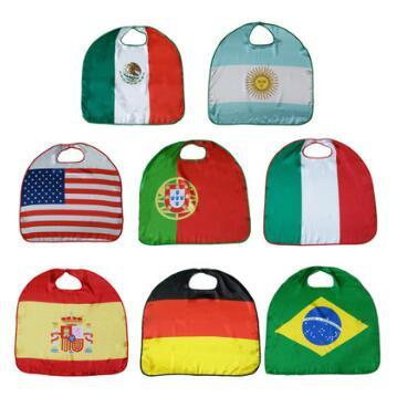 top popular 70*70cm 2018 World Cup National Flag Cloak Costume Cape USA Italy Germany Flag Cloak Clothing for Kids Polyester Cloak CCA8748 50pcs 2019