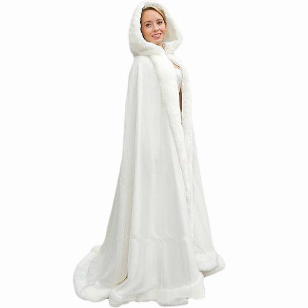 2018 White Women Wedding Cape Bridal Jacket Cloaks Wrap Shawl Long Party Wraps Jacket Long Capes Wedding Accessories Wedding Jackets QC1104