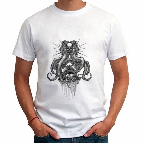 2018 Новая летняя мужская модная футболка с принтом в виде черепа с короткими рукавами для мужчин