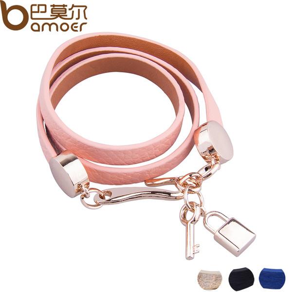 BAMOER Luxe Or Couleur Véritable Rose En Cuir Bracelet Trois Cercle Bijoux pour Femmes PI0327