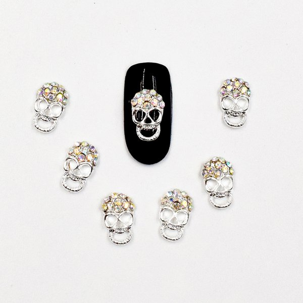 10pcs Maniküre Farbe Diamant Schädel 3D Nail Art Dekoration, Legierung Nagel Charms, Nägel Glitter Strass Supplies SS298