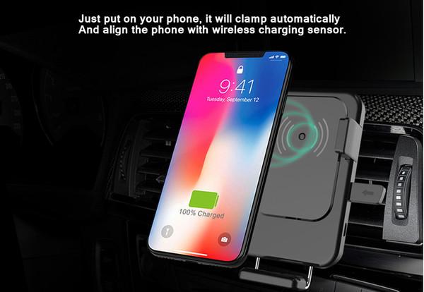 Auto-ladegeräte montieren auto-clamp 9 v qi schnellladung drahtlose ladegeräte auto air vent handyhalter wiege für samsung galaxy s8 s7 iphone