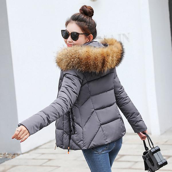Veste d'hiver femme Parkas pour Manteau Mode Femme Doudoune Avec Un Capot Grand Manteau Col En Fausse Fourrure 2018 manteau femme hiver S18101204