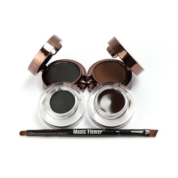 Музыка цветок 2 в 1 коричневый черный подводка для глаз Гель макияж водонепроницаемый смазыванию доказательство косметика набор подводка для глаз крем макияж с кистями