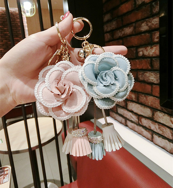 2018 Korean Vogue Compact Imitation Flower Light Color Bag Pendant Key Chain Car Pendant Schoolbag Pendant So Nice