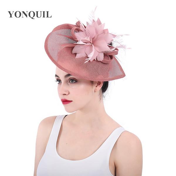 2018 New Arrival Femmes Big Kentucky Derby couleur royale Peach Fascinatrors Chapeaux Fleur Bandeau à plumes Vintage boucles Couvre-chef SYF441 Chapeau