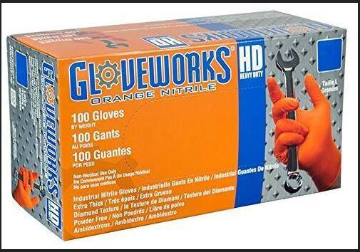 best selling New Ammex Corporation AMXGWON48100 Gloveworks HD Orange Nitrile Gloves AMMEX gloves (Box of 100) Free Shipping