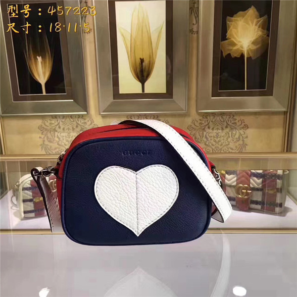Brand bags 2018 new splicing into small baotou love joker color layer cowhide single shoulder slope across fashion small bag camera bag
