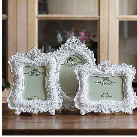 Nouveau cadre d'ameublement européen blanc cadre photo 6 pouces 7 pouces cadeaux de mariage créatif photo rose cadre photo