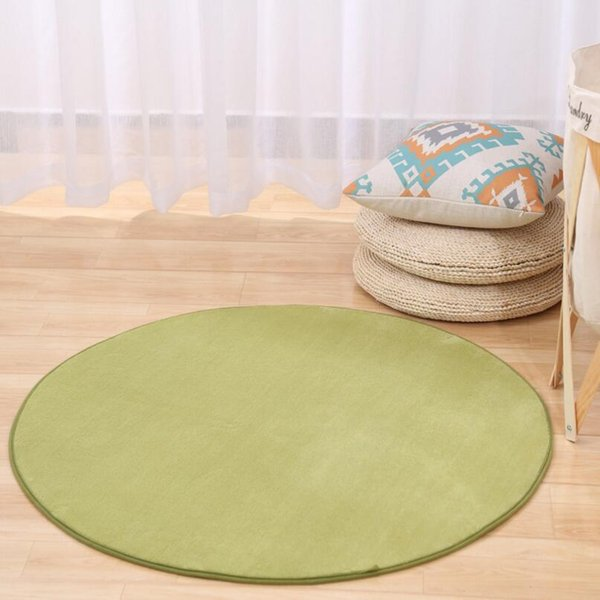 Coral Velvet Anti-skid Bedroom Bedsides Round Carpet Living Room Floor Mat Tea Table Rug Computer chair soft foot pad colors easy Washable