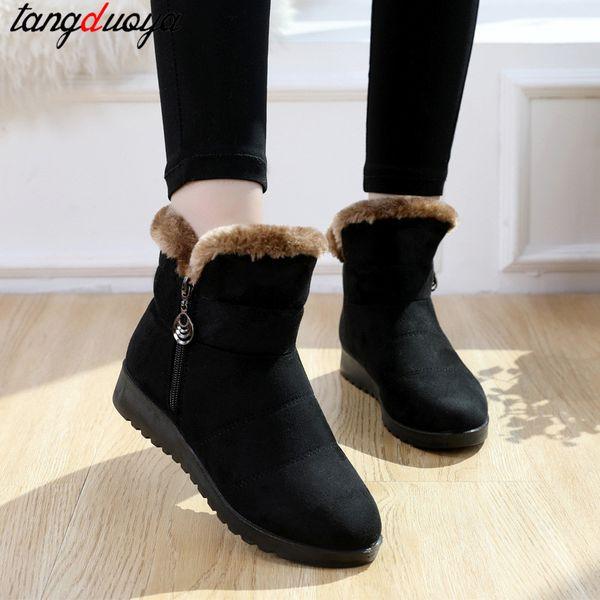 Acheter Bottes D'hiver Femmes Wedge Chaussures D'hiver Femmes Bottines Pour Chaussures Chaudes Neige Femme Talon Bas Botas Mujer De $31.56 Du Foxtotho