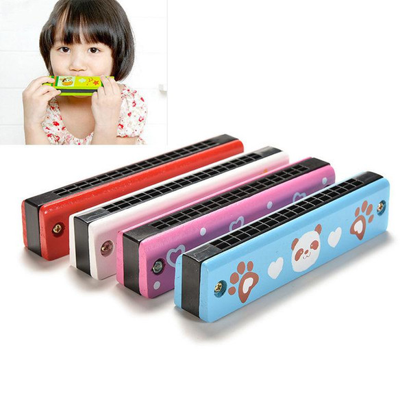 best selling Cartoon Wooden Harmonica Kids Musical Instrument Educational Toy Colorful Children Attractive Toys Band Kit Baby Birthday Gift