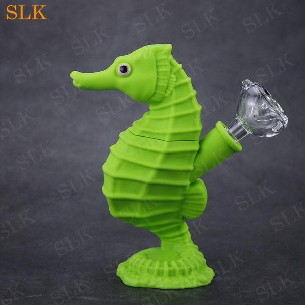 Forma única del caballito de mar tubos de silicona para fumar paquete del animal doméstico línea de tubería del burbujeador de agua de silicio grieta plataformas dab de 6 pulgadas bong plegable