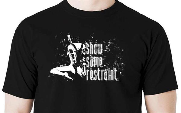 Cool Funny T Shirt High Quality Tees Show some restraint t shirt handcuff hood ball gag shabari whip otk Print Tops Tee Shirt hi