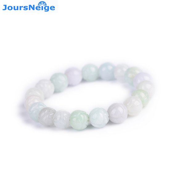 Dropshipping Natural Stone Bracelets Hand Caved Lotus Beads Bracelets LuckyElasticity Line Single Lap Fresh Bracelet Jewelry
