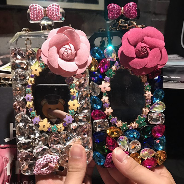Diamond perfume bottle mirror lanyard phone case for iPhone 6 6s 7 8 plus for Samsung galaxy s6 s7 edge s8 s9 plus note 4 5 8
