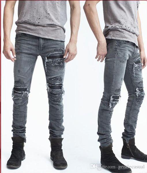 Kanye Mens Biker Jeans Draped Jeans GD Style Vintage Washed Biker Jeans Long Pencil Pants