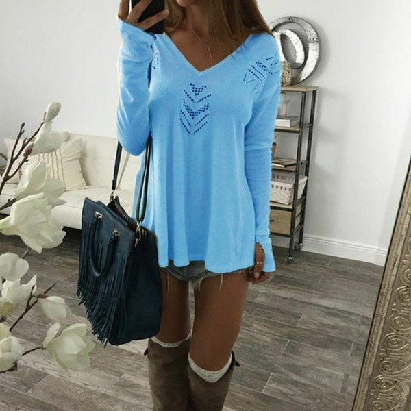 V Neck women T Shirts hollow out full sleeves 2018 New Autumn tee top feminino casual shirt Top outerwear clothing WS9641Y