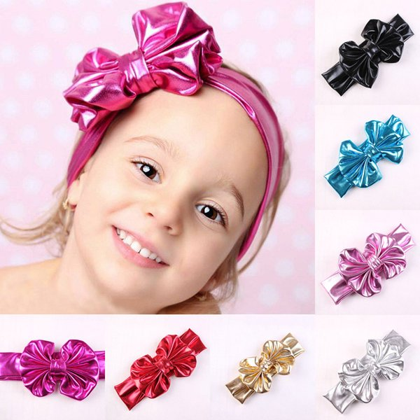 2018 Baby Girls Shine Bow Headbands Europe Style Big Wide Bowknot Hair Band 7 Colors Children Hair Accessories Kids Headbands Hairband