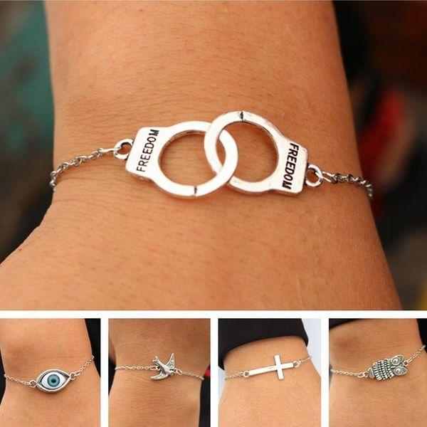 Charme Bracelets Pour Hommes Femmes Rétro Bijoux Lien Chaîne Bracelet Bracelet Croix Coeur Menottes Amour Paix Oeil Cadeau De Saint Valentin
