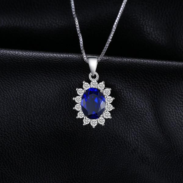 Sterling Silver Diamond /& créé Saphir Bleu Coeur Collier Pendentif