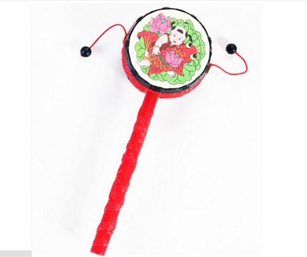 Toptan-1 adet Çıngırak Davul Handbell tradional Çocuk Oyuncakları Hediye Bebek Çocuk Çince Geleneksel El Çan
