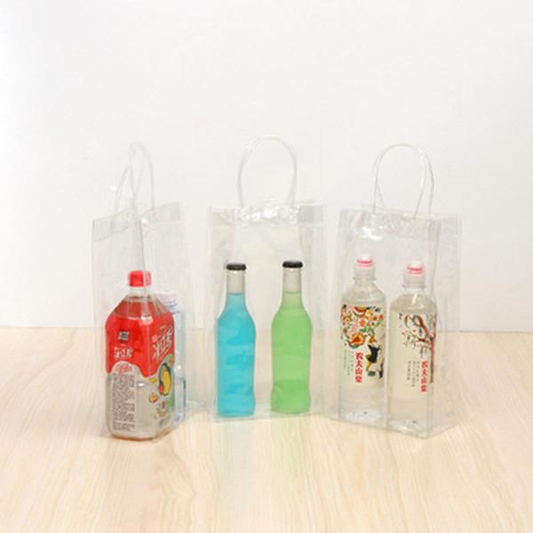 Hot 100pcs durevole trasparente trasparente in pvc champagne vino borsa per il ghiaccio sacchetto più fresco con maniglia shopping veloce jc-327