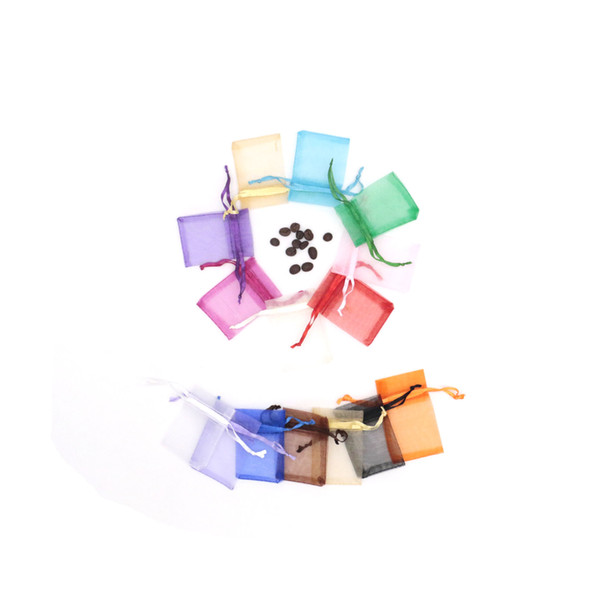 200pcs/lot 5*7 Inches Organza Wedding Favor Bags Mix Color With Drawstring Bag Wholesale For Jewelry Package Wedding Party Decoration