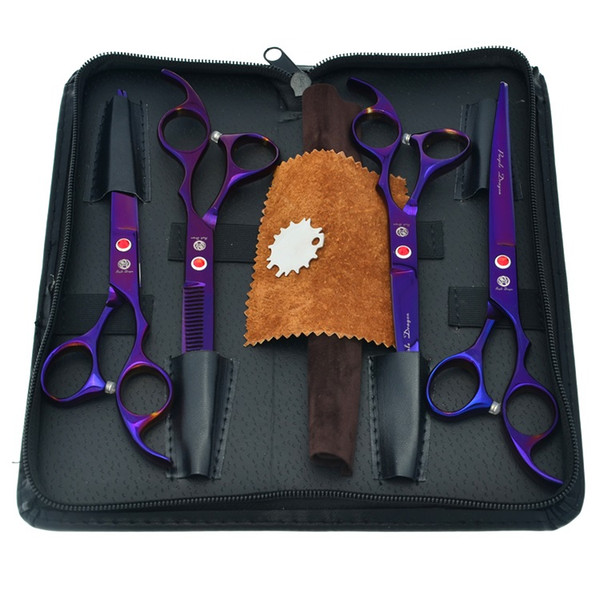 """7.0"""" Purple Dragon Pet Dog Cat Grooming Scissors Straight Cutting & 2Curved & Thinning Shears Razors Animals Hair Clippers Big Kits LZS0367"""
