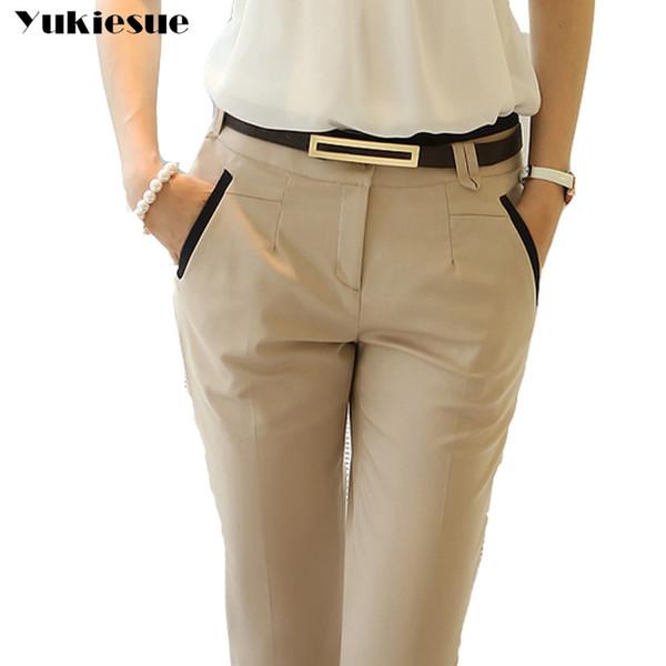 OL bureau porter des vêtements de costume pantalons femmes 2017 taille haute maigre slim pantalon crayon formelle pantalon femme pantalon pantalon mujer