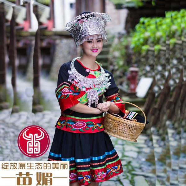 Chinesische Hmong Tanz Kleidung ethnischen Miao Kleidung Hmong Haar Zubehör Hut Silber Kragen Kostüm Frauen bestickt Kleidung