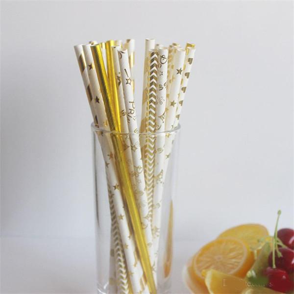 Fashion Drink Paper Straw Novelty Coating Film Bronzing Printing Drinking Straws Wedding Birthday Party Bar Club Decor Supplies 0 09rs Zz