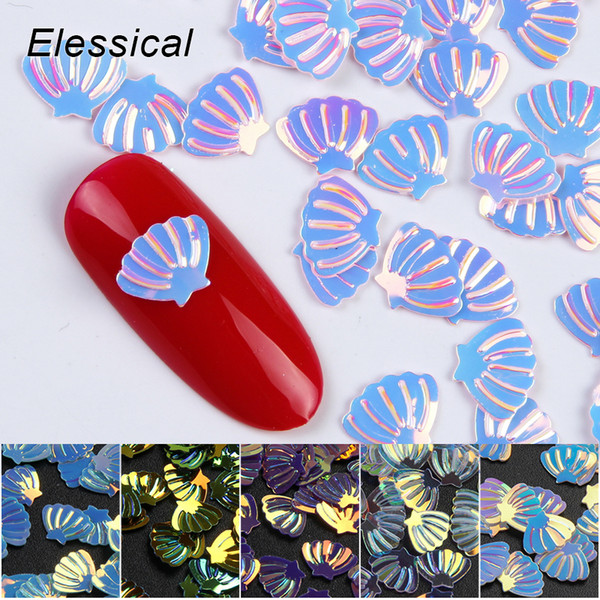 Elessical 10g/bag 5bags/lot Mermaid Holographic Fan Shell Nail Design Glitter Sequins Spangles For Nails Art Manicure Tool DIY Nail Decora