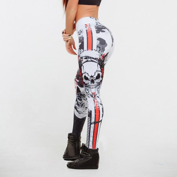Skull Pattern Print Leggings Fitness Leggings For Women Sporting Workout Leggins Elastic Slim Black White Pants