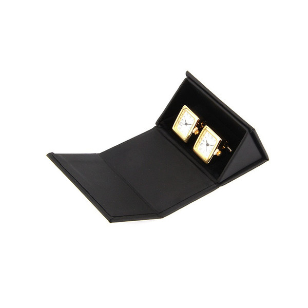 Black Triangular Cufflinks Box PU Leather Cuff Links Box Gift Box Cufflinks Carring Case Storage Boxes Jewelry Packaging QW7479
