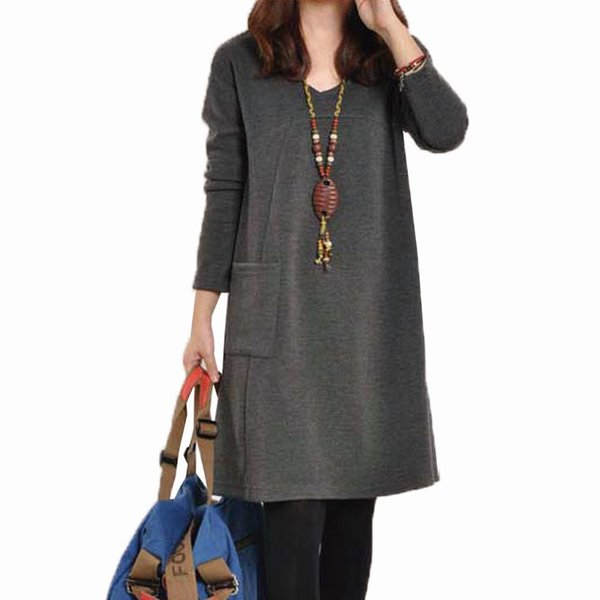 Long-sleeved Big Pocket Maternity Dresses Autumn Winter Dress for Pregnant Women Plus Size Casual Maternity Clothing Clothes