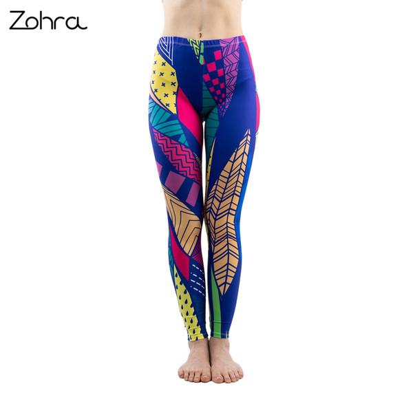 2fde3e885310a0 Zohra Colorful Line Printing Fashion Women Stretch Slim Leggings Fitness  Bottoms Sexy Workout Elasticity Pants